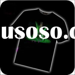 Customized logo 100% Cotton Music LED Flashing Equalizer EL T-Shirt