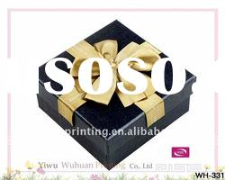 Dark bule Lid Square Jewelry Gift Box With Ribbon