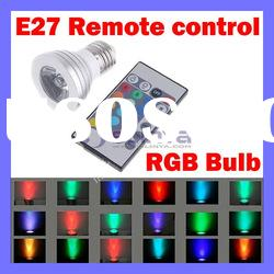 E27 IR Remote Control 16 Color RGB LED Light Bulb 3W AC 90-240V
