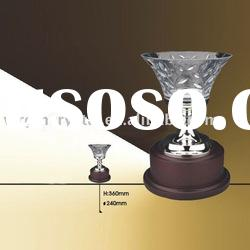Fashion glass crystal sports trophy award with wooden base