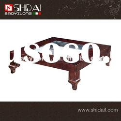 Fashion glass top wood coffee table for living room TA96L
