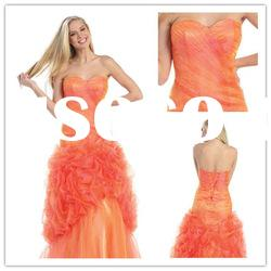Fashionable Strapless A-line Floor-Length satin lace ruffle Designer Evening Dress