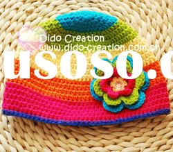 H05C061A Hand Crochet Baby Hat cap Rainbow Beanie flower gift for baby born cotton