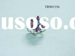 Inspired 925 sterling silver flower rings with big CZ stone TR901556