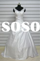 MW071 real sample Spaghetti strap beaded lace pattern china wedding dress gown wholesale