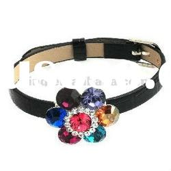 New coming fashion leather strap with crystal flower bracelet bangle