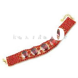 New trendy bridal red claw chain crystal rhinestone bracelet