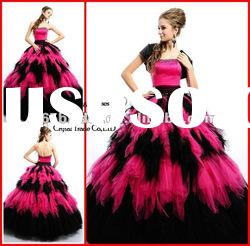 PYN2164 2012 Tiered Strapless Tulle Beaded Ball Gown prom quinceanera dresses