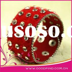 Red rhinestone leather bracelet NB0229