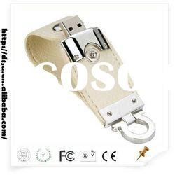 Silver Side with White Leather USB Memory Stick/16gb USB Flash Drive
