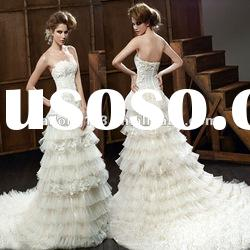 Strapless Applqiued Beaded Tiered New Style Wedding Gown