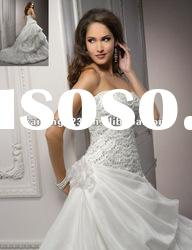 Strapless Ball Gown Crystal Beaded Lace Tulle Elegant Wedding Dresses