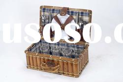 Wicker picnic basket for 4 best price with full dinnerware