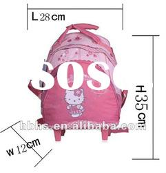 fancy kids school bag with wheels backpack