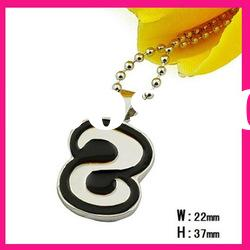 fashion black number 8 pendant necklace with shiny ball chain