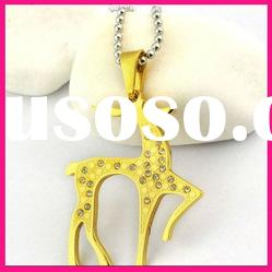 fashion gold animal deer charm pendant necklace with stainless steel ball chain
