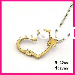 fashion gold stainless steel letter love heart pendants box chain necklace