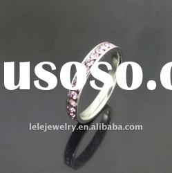 fashion stainless steel rings jewellery with pink crystal