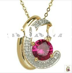 fashion unique design 18k gold plated alloy pendant necklace with stone 121066