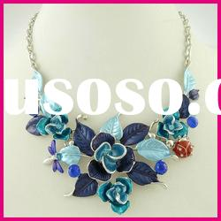 fashion zinc alloy flower enamel ladies necklace high quality