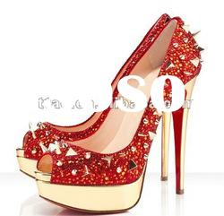 peep toe red crystal high heel shoes with gold spike