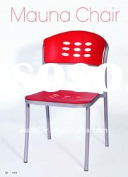 red plastic dining chair