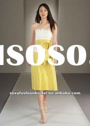 shell neckline column ruffle on corset waist knee length yellow and white bridesmaid dresses