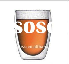 transparent hand-made double wall glass coffee cup