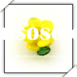 yellow color flower shaped glass beads