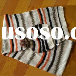100 acrylic knitted scarf&hat set
