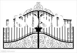 2011 Top-selling hand forged iron gate grill designs