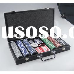 300 pc poker chip set With Black Wooden Case