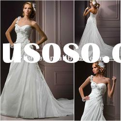 A-line appliqued one shoulder sweetheart organza bridal wedding dress 2011