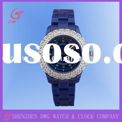 Alloy quartz watch with stones and oil plating finished