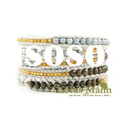 Beaded Leather Wrap 4mm Fresh Water Pearl Bracelet With Clasp For Men