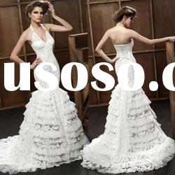 Classic Halter V-neck Tiered Beaded Lace Fishtail Wedding Dress