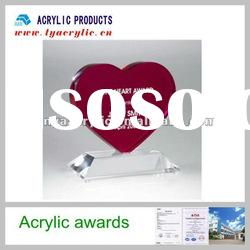 Clear awards red heart acrylic trophies medal plaques