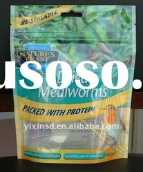 Color Printed pet food packaging bag with reclosable zipper, hang hole on top and easy to tear