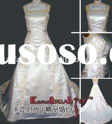 EB015 smooth satin subtle embroidery silver wedding dress elegant wedding gown