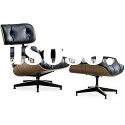 Eames Lounge Chair and Ottoman - Ebony Wood/Chococlate Brown Aniline Leather - Chromed feet