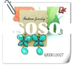Fashion butterfly earring with rhinestone and resin (QXER12027)