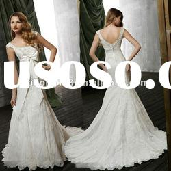Fashional Cap sleeves Appliqued Sash Lace Wedding Gown