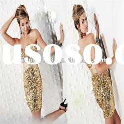 Glamorous Sweetheart Fitted Short Sequined Beaded Gold Dresses