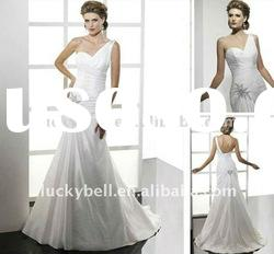 Hot sale One -Shoulder Tiered White Wedding dress