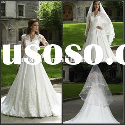 MM1000 elegant long sleeve lace wedding dress