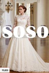 NL033 Brand New Hot Sale Elegant Long Sleeve High Neck Lace Wedding Dress