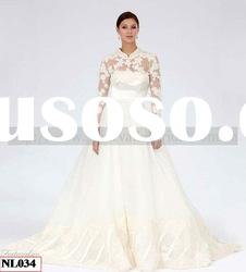 NL034 Brand New Hot Selling Long Sleeve High Neck Lace Designers Wedding Dress