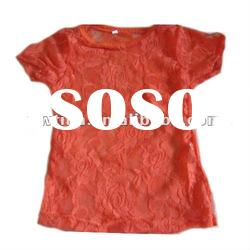 New arrival!Orange Lace Short Sleeve t shirt/Petti Top/pettitop/Tees for Children