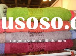 New arrival bamboo and cotton solid soft bath towel with border