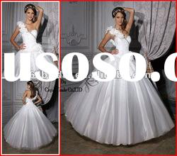 PYN2176 2012 White Princess Feather One Shoulder Satin Beaded Ball Gown prom quinceanera dresses